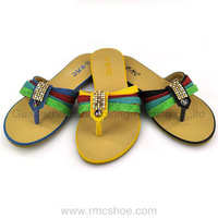 RMC glittering rainbow flat sandals with pearls