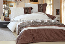 new hot sale luxury white and coffee colored PV coral fleece patchwork comforter set for the rich