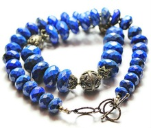 Totally handmade - The Tribal Necklace - Oxidised Silver & Lapis Lazuli Faceted Beads - 18 Inches