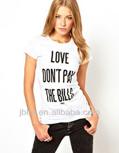 front big words printing women t-shirt oem 2013