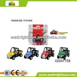 Mini plastic pull back farmer toy tractor