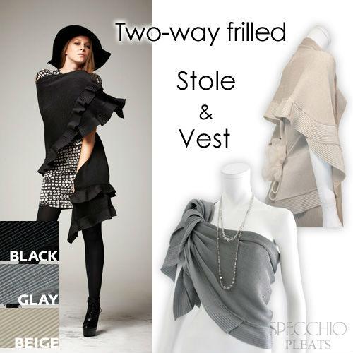 De dos vías con volantes de la estola chaleco negro gris de las mujeres plisado pareo