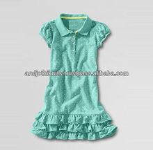 LITTLE GIRLS DROP WAIST POLO DRESS WITH DOT PRINT