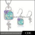 venta caliente de la moda de cristal de cobre de la india joyería conjunto