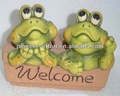 la decoración del jardín macetas de terracota de la rana con las palabras de bienvenida