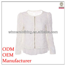 new design long sleeve fashion blouse for office ladies with zip and layered hem