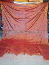 Indian Decor Brocade Silk Bedspread 5pcs Set Bedspreads Pillow Cover Bed Throw