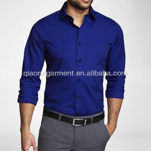 Azul Royal Slim Fit camisa de vestido dos homens-Camisas masculinas-ID ...