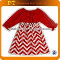 2014New Red roupas de bebê de manga longa Chevron vestido de baptizado com cinto vestidos de crianças e vestidos