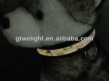 white Lighting led pet collar for dogs LED pet collar Teddy bear logo Optical fiber collar