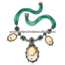 Diamond Emerald Lariat Necklace Designer Cameo Real Pearl 18k Gold Princess Wedding Necklace