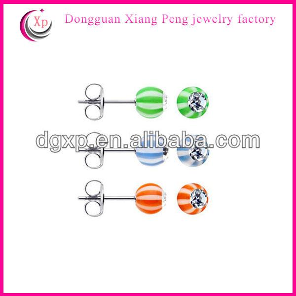 UV acrylic ball stud earrings 2013 new products