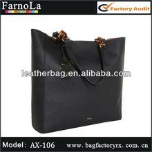 Natural Black tote leather handbags shoulder bag big size for ladies