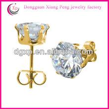 Golden rose stud earrings cubic zirconia stud earrings screw back