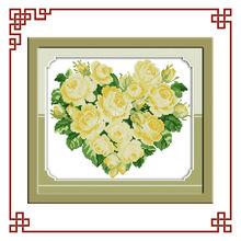 NKF Rose heart (Yellow) cross stitch art