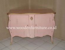Antique Reproduction Commode French Style Classic Wooden Side Board Vintage Cabinet European Home Mahogany Painted Furniture