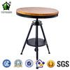 Vintage Metal round bar Tables, adjustable industrial outdoor table, wood top