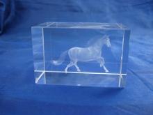 3d laser engraving cheap lifelike crystal horse