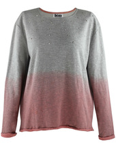 2015 hot sell new guangzhou big size women european clothing wholesale with dip dying,round neck and long sleeve Blouse