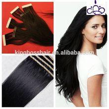 black color jet black indian remy tape hair extension 40pcs one pack