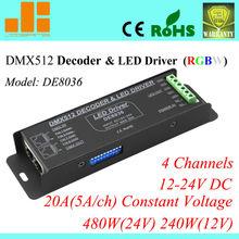 4channels LED RGBW Controller DMX LED Decoder & Driver 12V DMX Controller