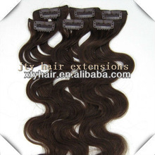 Gorgeous 12-30inches #4 Medium Brown Natural Body Wave, Brazilian clip in hair extension