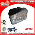 2013 venda quente em plástico abs e vidro feito quadrado branco ax100 luz principal motos lifan as peças da motocicleta