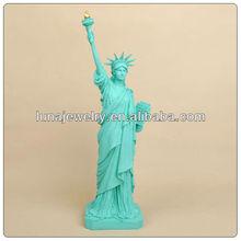 Color verde de la estatua de la libertad, figuras de resina