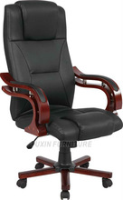 luxury black pu leather executive office chair with wood handrail for boss