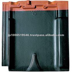Modern design flat roof tiles made in Japan ( CERAM F2 Straight Black color )