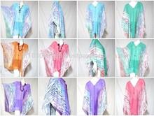 VTG RETRO THAI CHIFFON COVER UP WOODEN BUTTON HANDMADE HIPPIE BOHO oriental asian vest muti-wear pareo shawl scarf