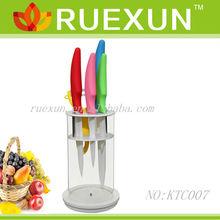 KTC007 - Hot Sale 5pcs Color Handle Kitchen Ceramic Knife Set with holder