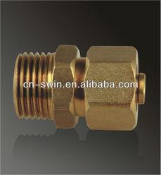 Swin high quality pe-al-pe composite pipe fittings brass male thread union/nipple male/straight male connector