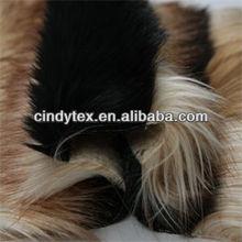 jacquard 80mm 2-tone yellow black heavy long pile soft acrylic polyester imitation fox faux fur fabric