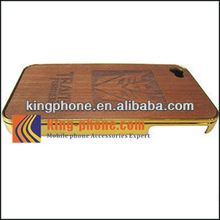 Electroplating PC wooden case,sapele Carving phone case for Iphone4