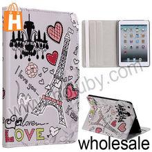 Red Hearts+Eiffel Tower Pattern Stand Folio Cover Leather Case for iPad Mini/Retina iPad Mini with Elastic Strap
