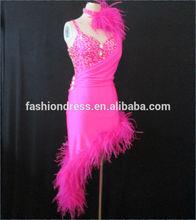 2014 New Sex Women Latin Salsa Dance Dress, Asymmetric Sequin Fringe Stage Performance Dress L-0033