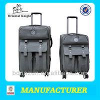fashion soft nylon luggage with 4 rolling wheels