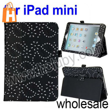 Beautiful Diamond Flowers Pattern Flip Stand Leather Case with Pen Slot for iPad Mini Multi Colors
