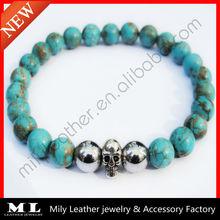 2014 NEW- Halloween Skull Silver Hematite Handmake Bead Bracelet MLAS-015