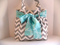 chevron wholesale diaper bag Gray and White Fabric with Large Aqua Bow