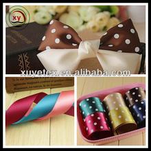 polka dot printed polyester satin fabric / fabric ribbon bow