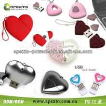 crystal heart shape regalo de bodas usb pen drives 8gb