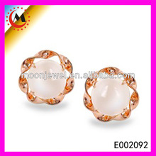 BEAUTIFUL ROSE GOLD PINK CRYSTAL STUD EARRING ,CHARMING BEAUTIFUL STUD EARRING