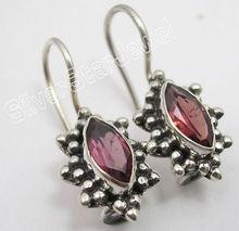 925 Silver GARNET Oxidized Lovely Dangle Earrings 2.3CM