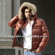 Latest Fashion Red Black White Navy Softshell Ultralight Real Fur Winter Men's Down Jacket
