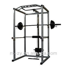 POWER SQUAT RACK STRENGTH TRAINING SYSTEM CAGE + LAT PULL DOWN ATTACHMENT