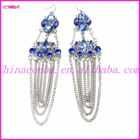 2014 lastest fancy long chain drop earring with blue acrylic