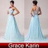 Grace Karin Fashion Ladies One shoulder Light Blue Chiffon Long Dresses Evening CL4506
