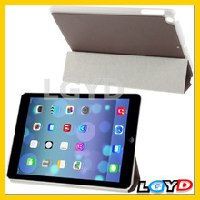 New 3-folding Small Plaid Texture Leather Case with Holder for iPad Air